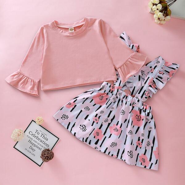Baby Girl Flounce Sleeve Tee With Ruffle Pinafore Skirt