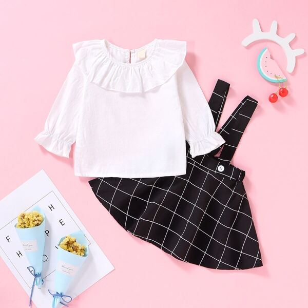 Baby Girl Ruffle Blouse With Plaid Pinafore Skirt