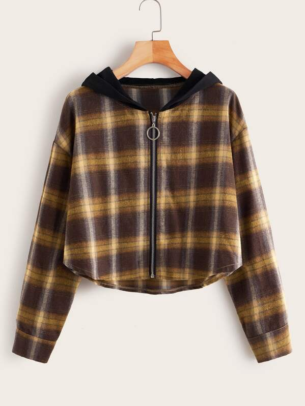 Plaid O-ring Zip Hooded Blouse, Multicolor