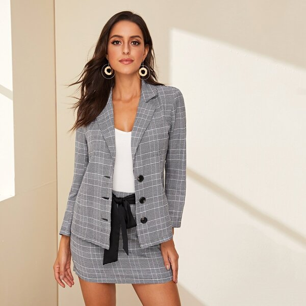 Glen Plaid Notch Collar Blazer and Skirt Set