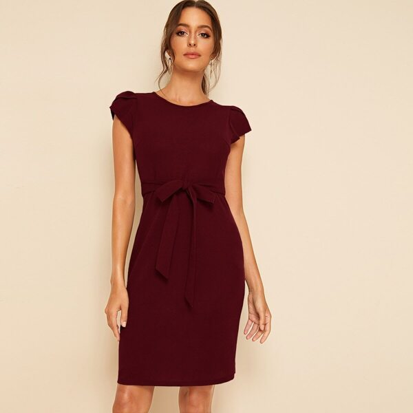 Petal Sleeve Self Belted Dress