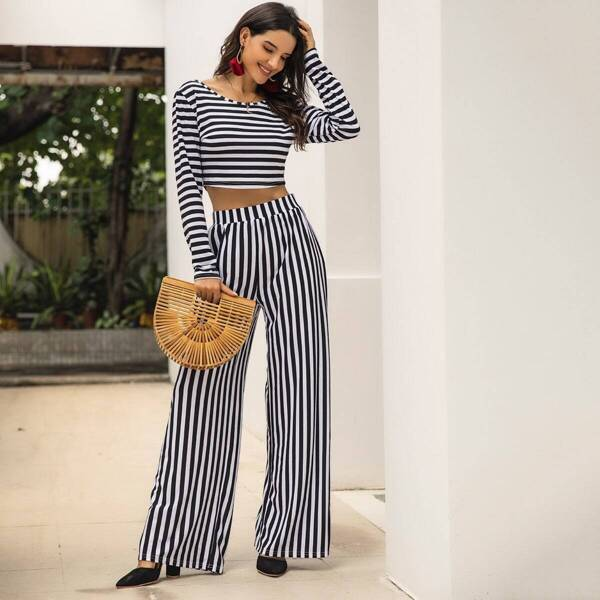 Striped Crop Tee With Wide Leg Pants