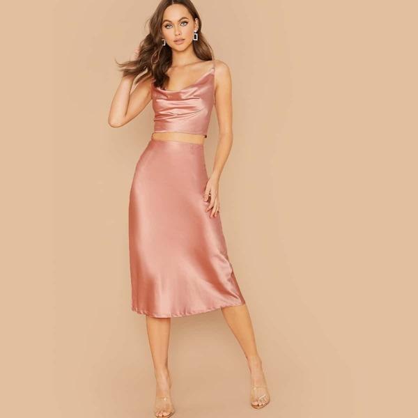 Draped Neck Satin Cami Top & Skirt Set