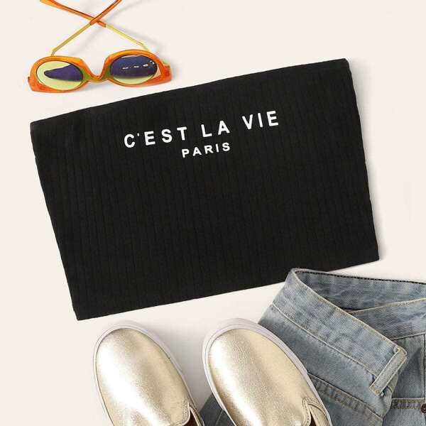 Slogan Print Rib-knit Bandeau Top