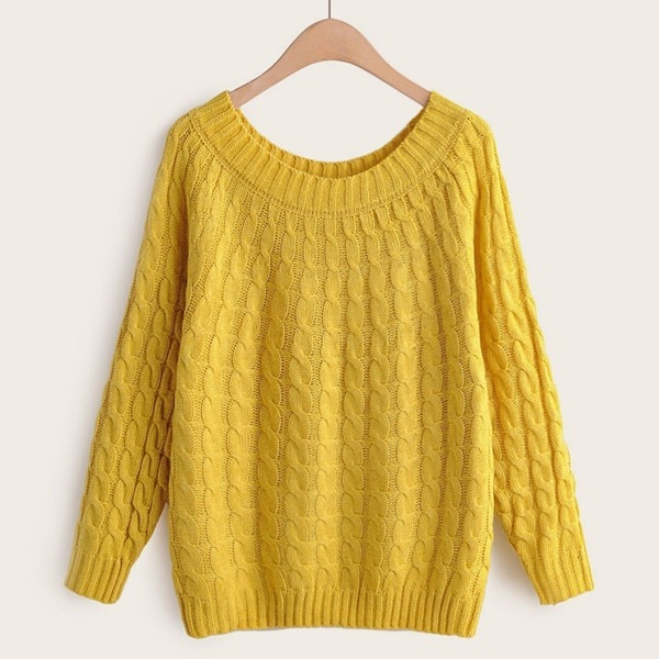 Cable Knit Solid Pullover Jumper