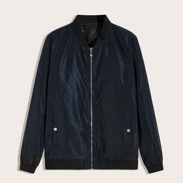 Men Zip Up Pocket Side Bomber Jacket