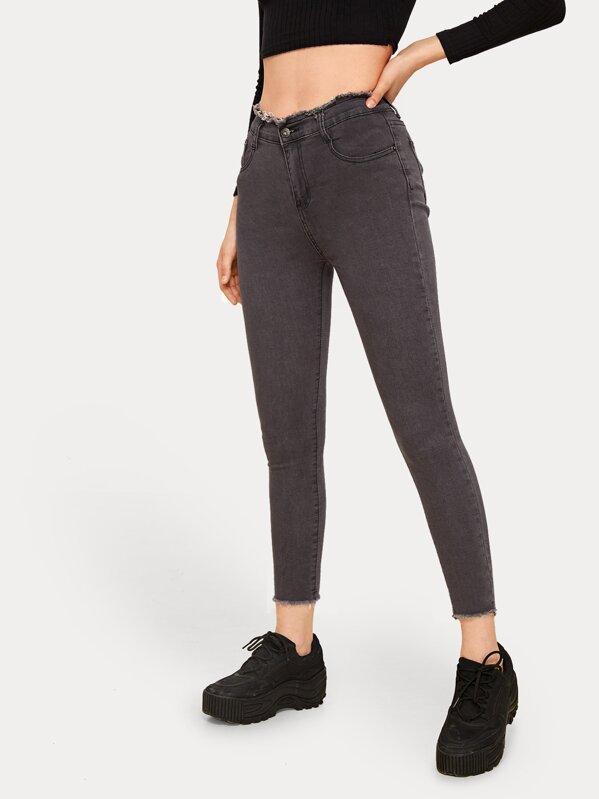 Solid Raw Trim Skinny Mom Jeans, Aleksandra J
