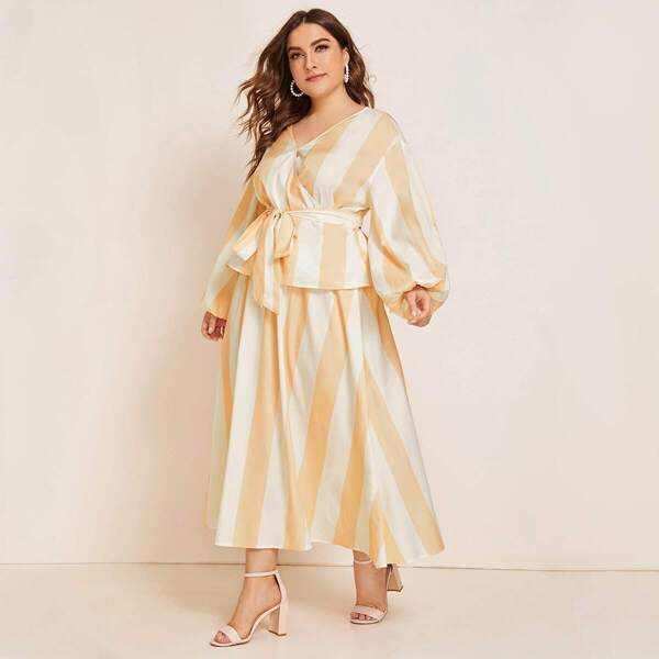 Plus Two Tone Wrap Belted Top & Skirt Set