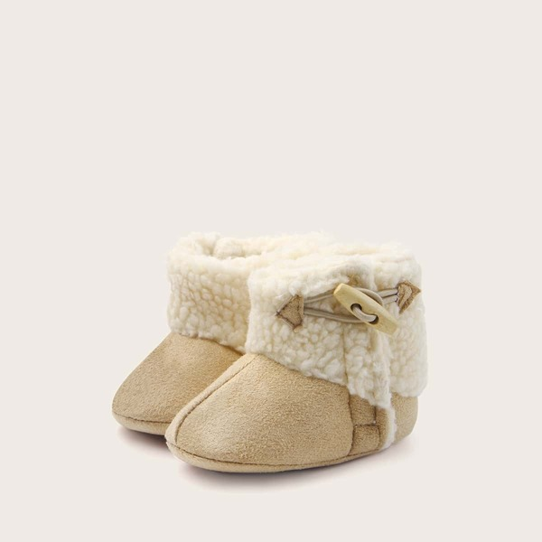 Baby Girls Horn Button Decor Faux Fur Boots