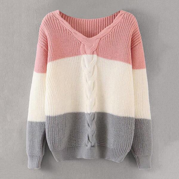 Cut And Sew Cable Knit Sweater