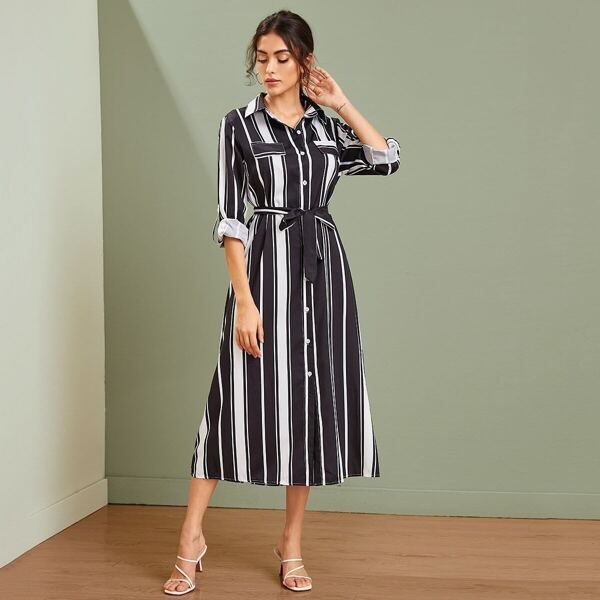 Vertical-striped Rolled Sleeve Self Tie Shirt Dress