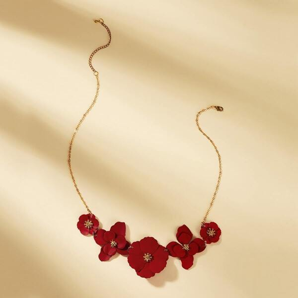 Flower Decor Necklace 1pc, Red