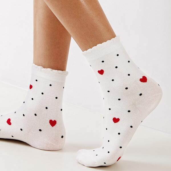 Heart & Polka Dot Pattern Socks 1pair, Multicolor
