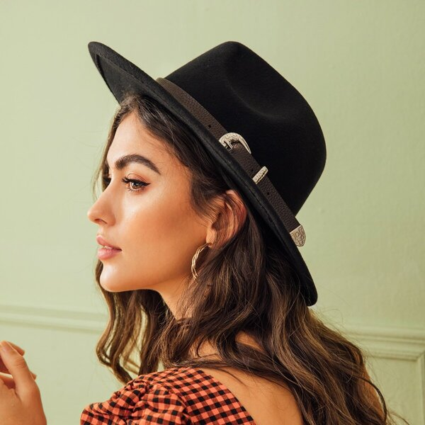 Buckle Belt Decor Fedora Hat