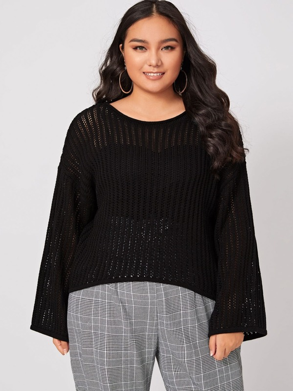 Plus Solid Drop Shoulder Round Neck Sweater, Ma Tian