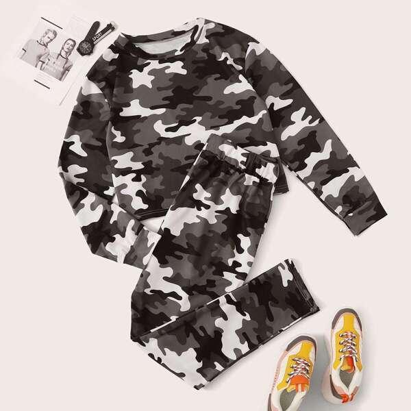 Plus Camo Print Round Neck Sweatshirt & Sweatpants Set