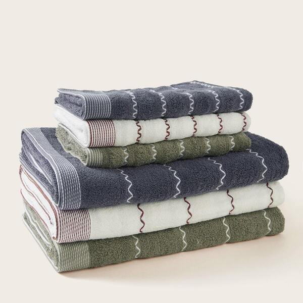 Wavy Pattern Cotton Towel Set 2pcs