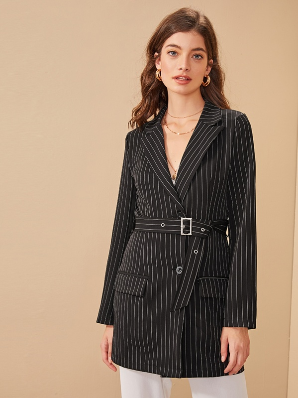 Striped Double Button Belted Blazer, Black, Reka B
