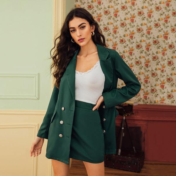 Lapel Neck Double Breasted Blazer With Skirt