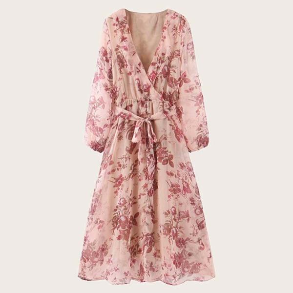 Floral Print Surplice Front A-line Dress