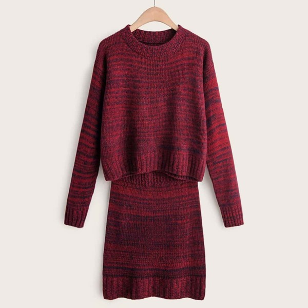 Space Dye Drop Shoulder Sweater With Skirt