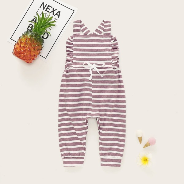 Baby Girl Striped Frill Trim Bow Front Overalls