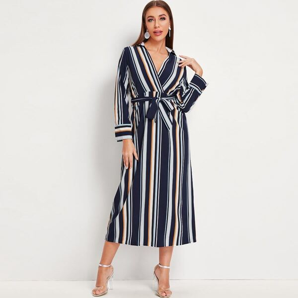 Vertical-striped Surplice Front Self Tie Shirt Dress