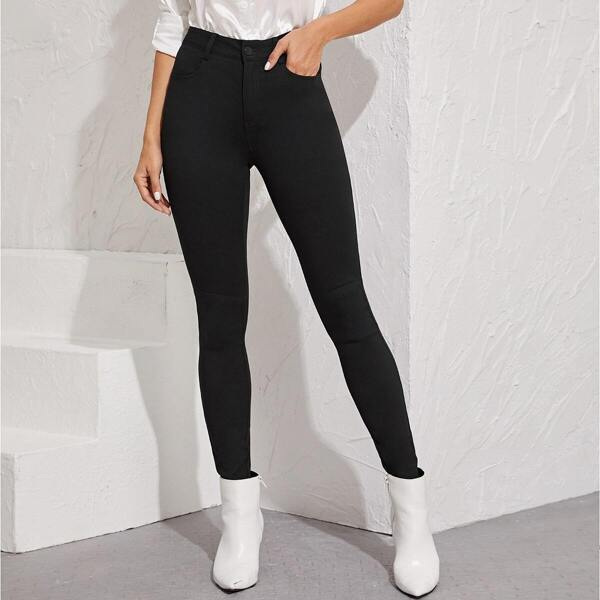 Black Wash Button Fly Skinny Jeans