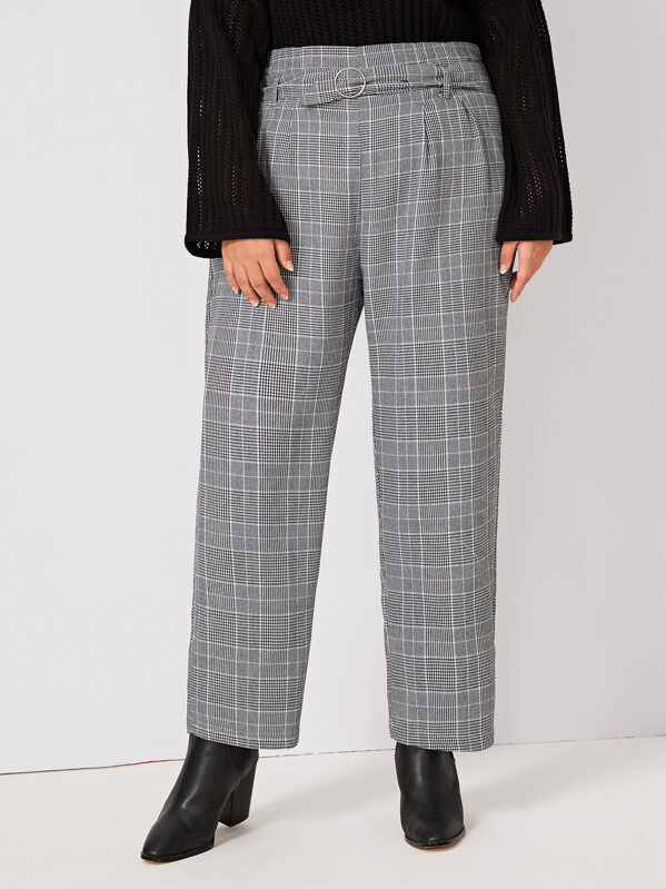 Plus Plaid O-Ring Belted Tailored Pants