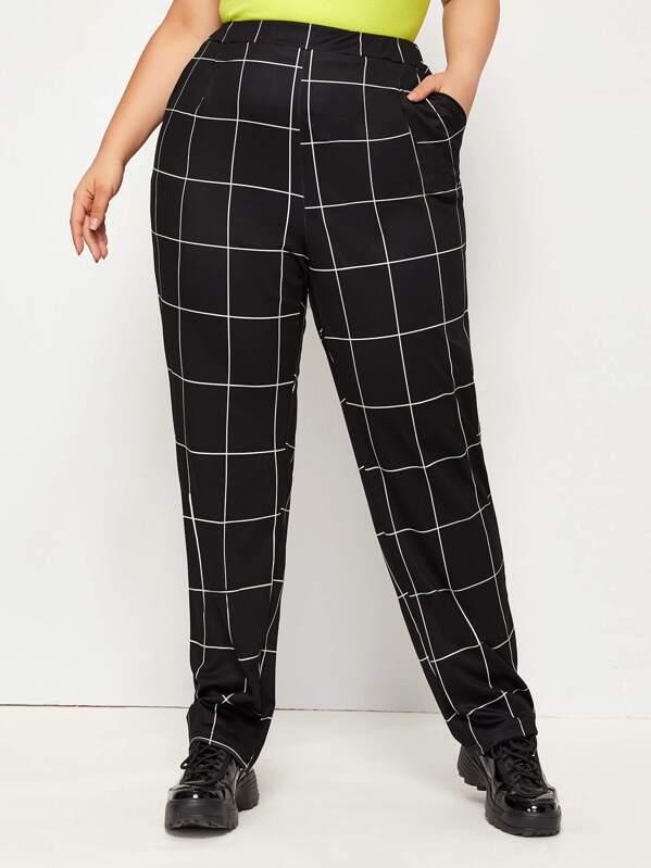 Plus Plaid Print Elastic Waist Pants, Ray