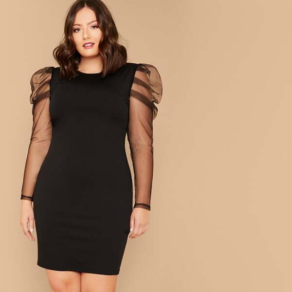 Plus Sheer Gigot Sleeve Pencil Dress
