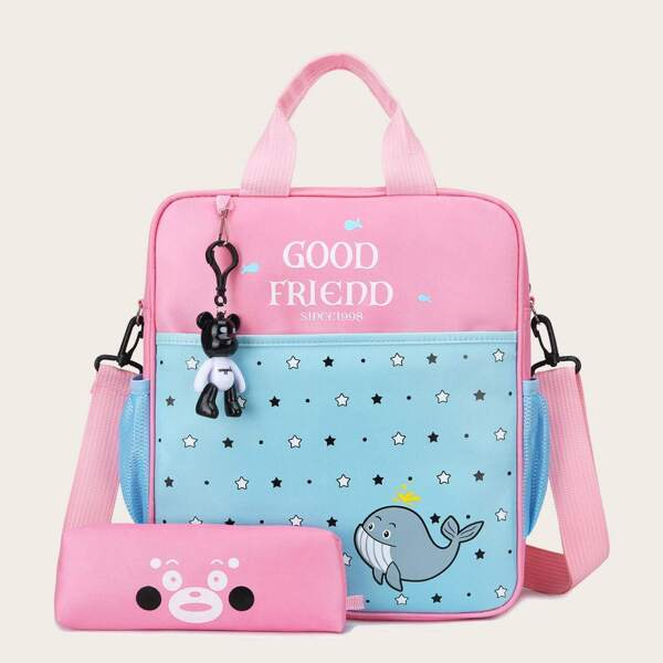 Girls Star Print Backpack With Pencil Case
