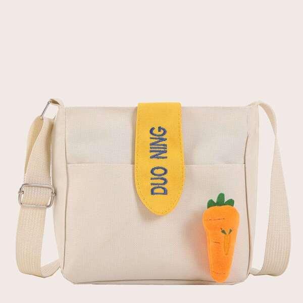 Girls Carrot Decor Canvas Crossbody Bag