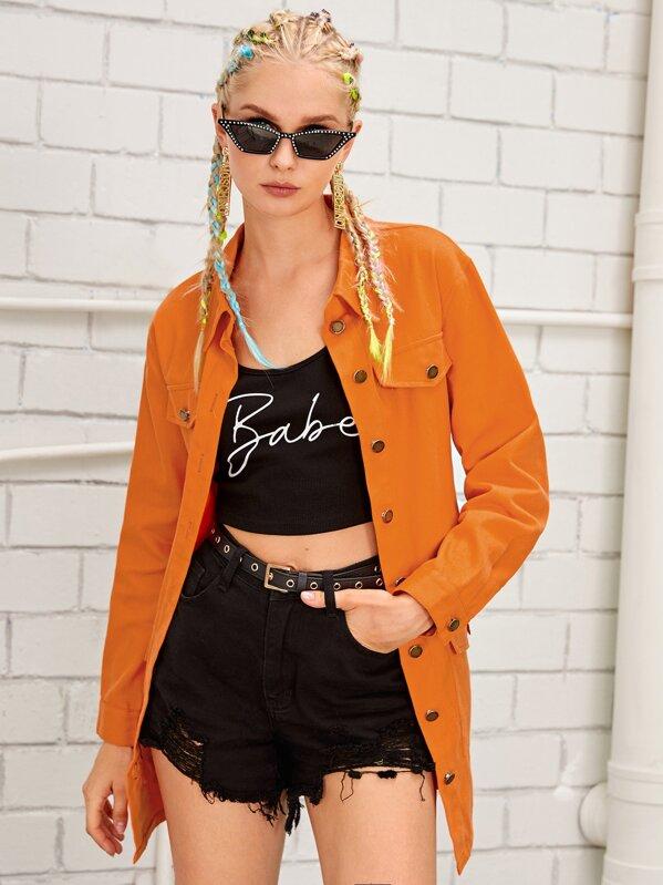 Neon Orange Button Through Belted Denim Coat, Nikola