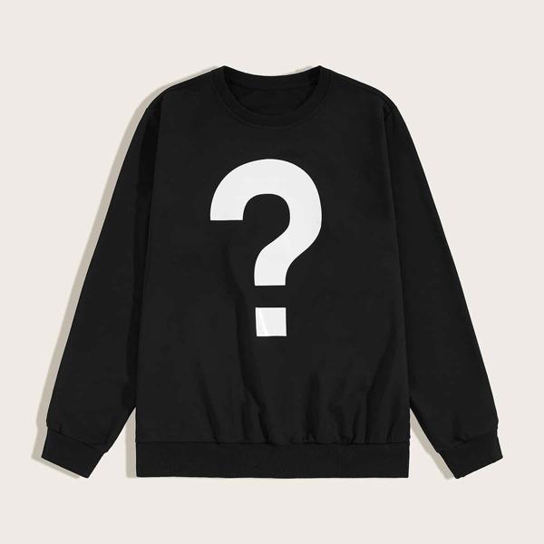 Men Question Mark Print Sweatshirt