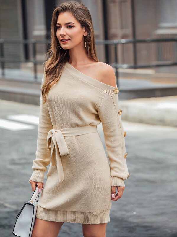 Asymmetrical Neck Button Detail Belted Sweater Dress, Debi Cruz