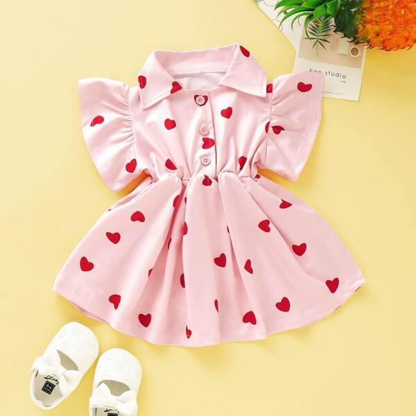Baby Girl Heart Print Half Button A-line Dress