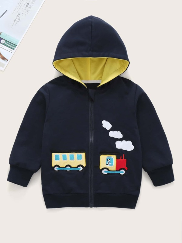 Toddler Girls Train Embroidery Hooded Coat, Navy