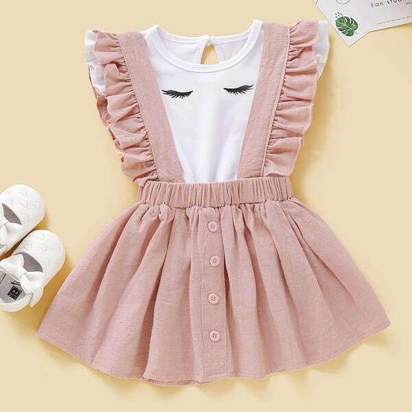 Baby Girl Eyelash Print Tee With Ruffle Pinafore Skirt
