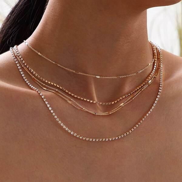 Rhinestone Engraved Layered Necklace 1pc