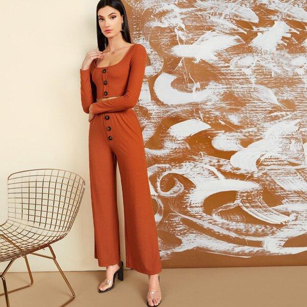 Button Front Rib-knit Top & Wide Leg Pants Set