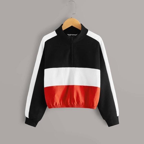 Girls Zip Half Placket Colorblock Sweatshirt