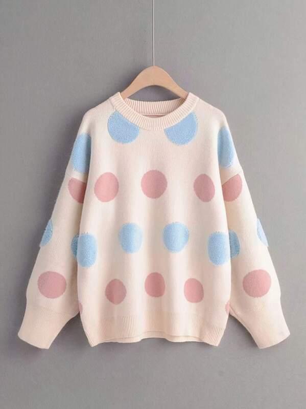 Round Neck Geo Pattern Drop Shoulder Sweater
