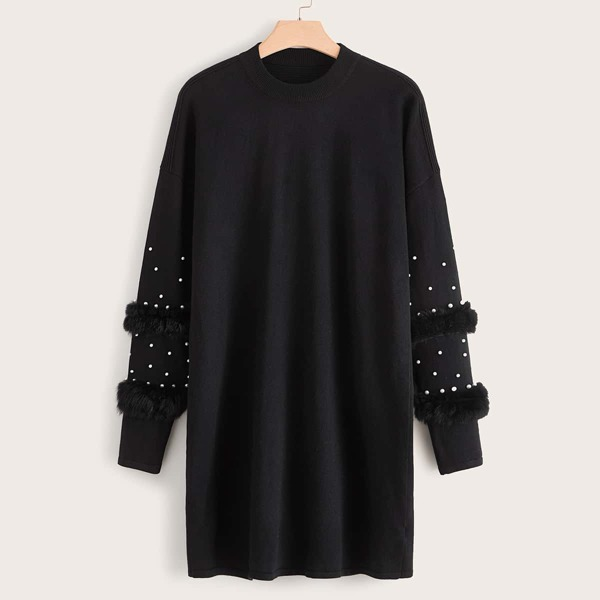 Plus Pearl Beaded Faux Fur Detail Sweater Dress