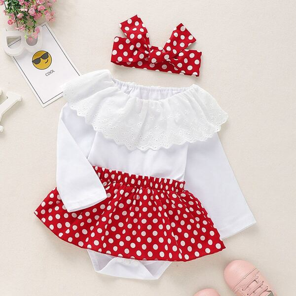 Baby Girl Contrast Polka Dot Ruffle Romper With Headband