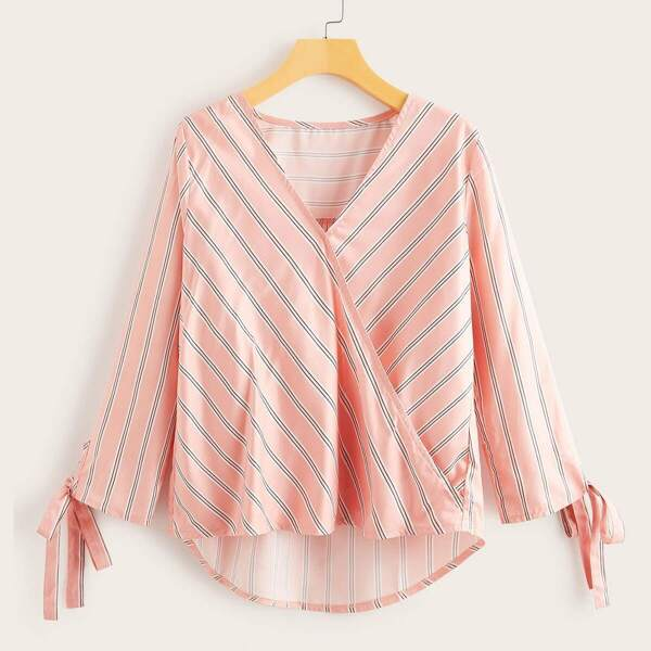 Striped Surplice Neck Tie Cuff Dip Hem Blouse, Pink