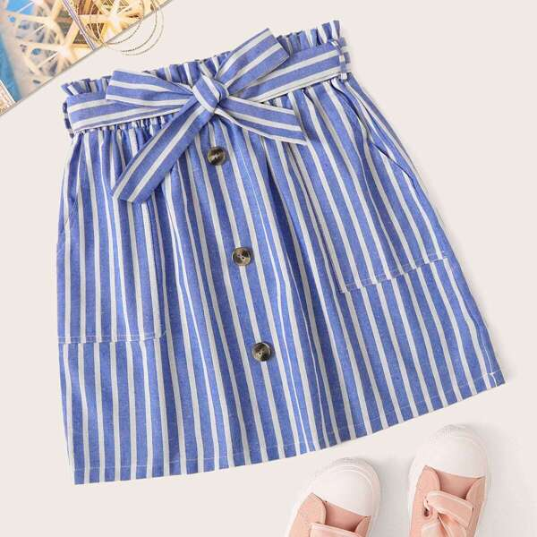 Striped Button Front Self Tie Skirt