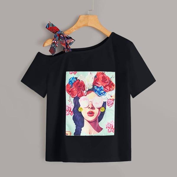 Plus Open Shoulder Tie Figure Print Tee