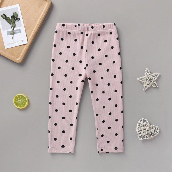 Baby Girl Polka Dot Elastic Waist Ribbed Pants
