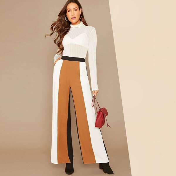 Colorblock Striped Wide Leg Pants